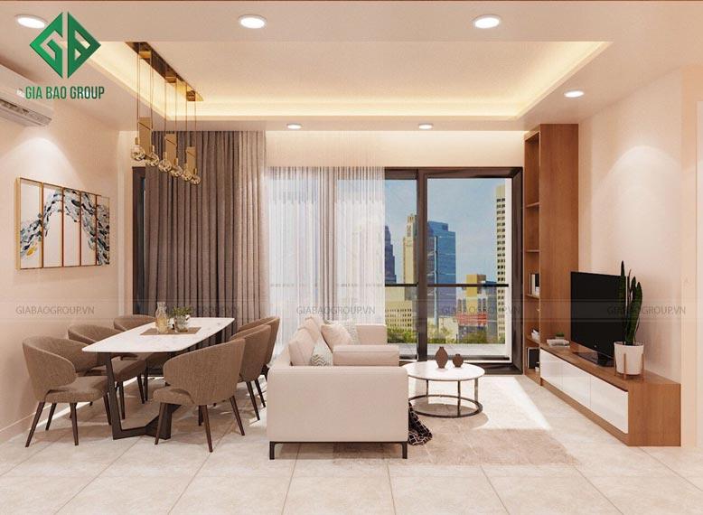 Thiết kế nội thất căn hộ Đảo Kim Cương ở phòng khách