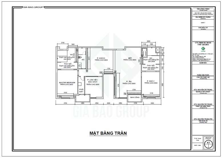 Mặt bằng trần trong thiết kế nội thất căn hộ Penthouse quận 7