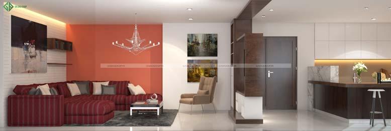 Thiết kế nội thất căn hộ Penthouse liên thông phòng khách và phòng bếp