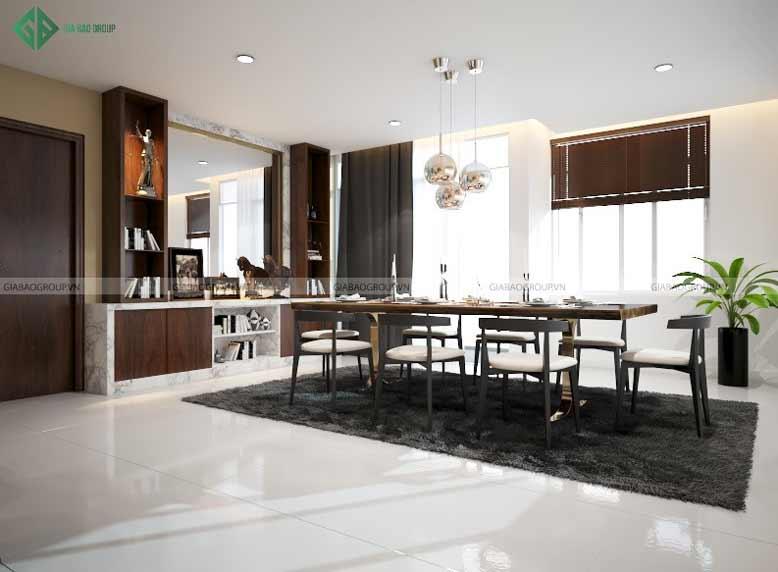 Thiết kế nội thất căn hộ Penthouse cho phòng ăn tràn ngập ánh sáng tự nhiên