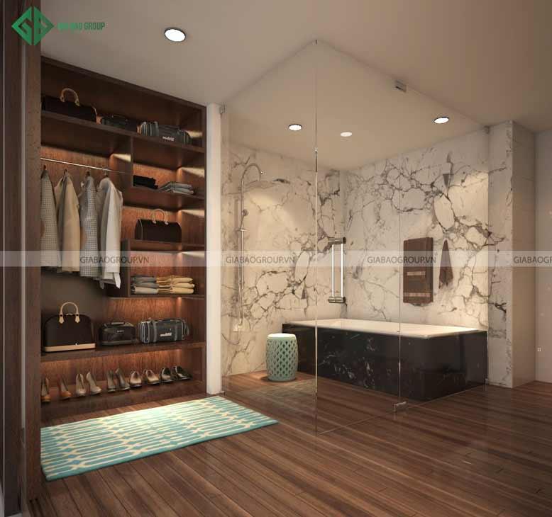 Phòng tắm thiết kế bằng kính trong suốt