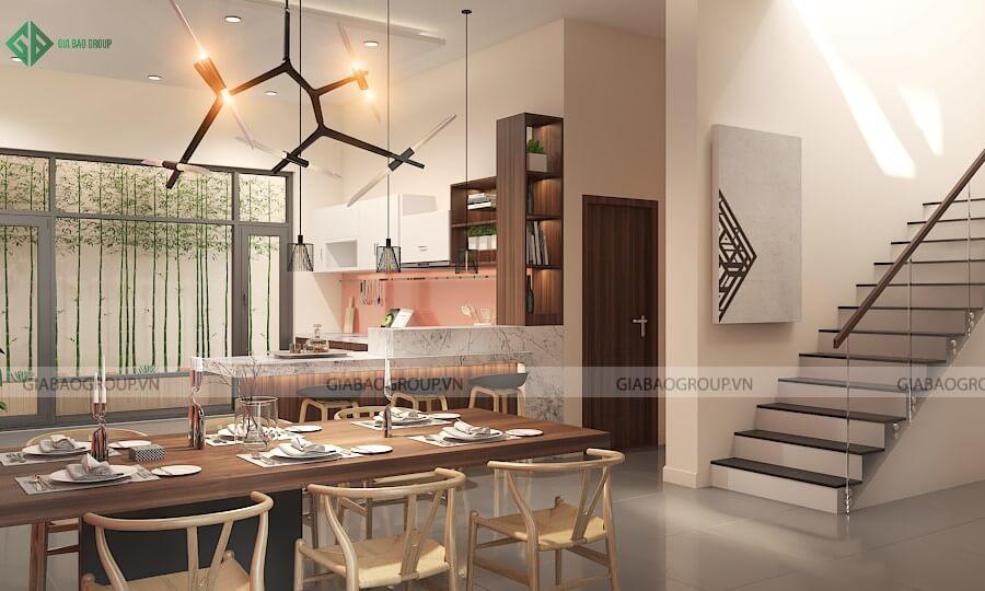 Phòng khách và bếp thiết kế nội thất biệt thự