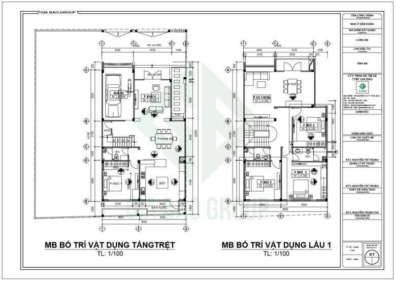 Mặt bằng thiết kế nội thất nhà biệt thự