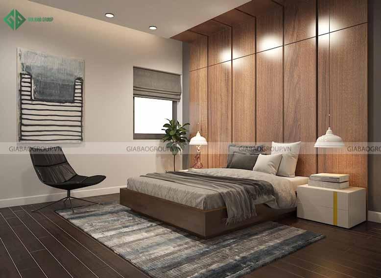 Thiết kế nội thất biệt thự với điểm nhấn tường gỗ cho phòng ngủ