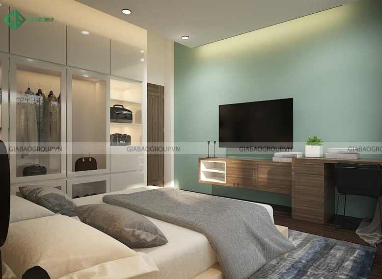 Thiết kế nội thất biệt thự không gian nhỏ cho phòng ngủ với gam màu xanh đặc trưng