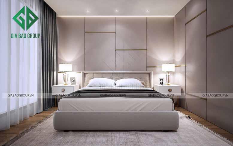 Phòng ngủ với gam màu trung tính mang đến cảm xúc tích cực cho không gian thiết kế nội thất nhà phố