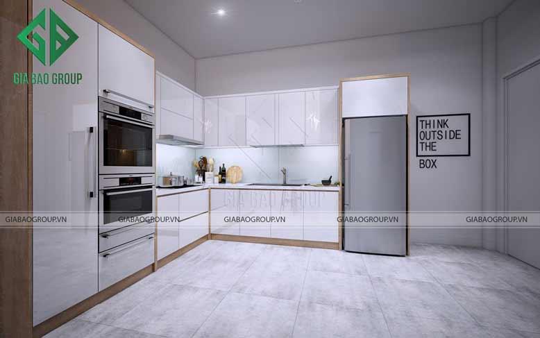 Phòng bếp tiện nghi, tiết kiệm diện tích trong thiết kế nội thất nhà phố