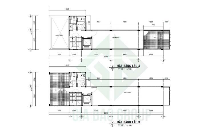 Mặt bằng lầu 3 và 4 phối cảnh trong thiết kế tòa nhà văn phòng đẹp