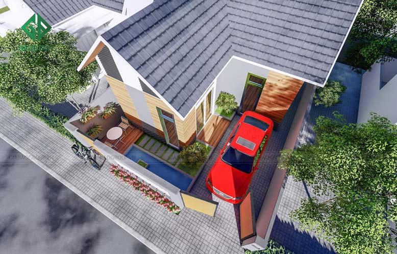 Kiến trúc ngôi nhà có tông màu trắng và màu vàng gỗ với sự trộn lẫn với màu xám và đen