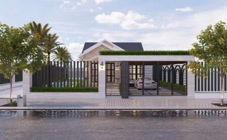 Thiết kế nhà 1 tầng mái Thái phong cách nhẹ nhàng tinh tế tại Bình Dương