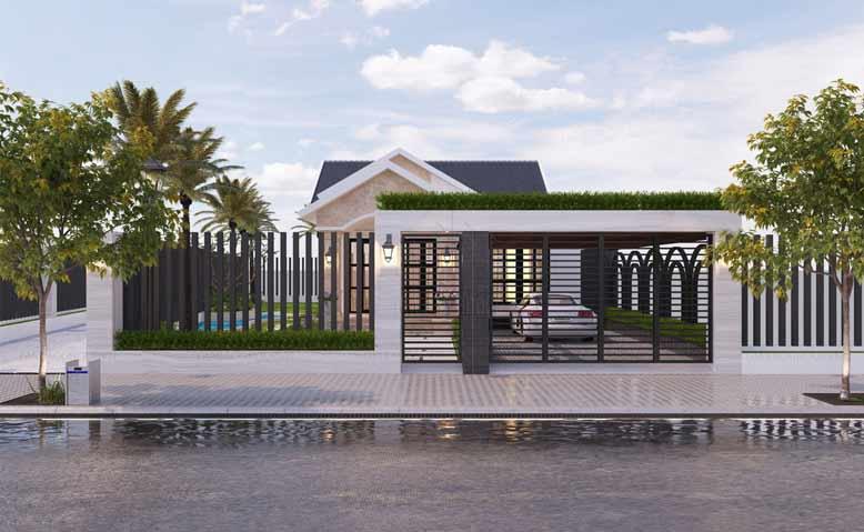 Thiết kế nhà phố 1 tầng mái Thái phong cách nhẹ nhàng tinh tế tại Bình Dương