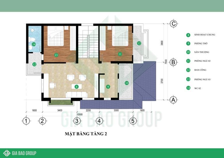 Mặt bằng tầng 2 của biệt thự 2 tầng hiện đại tại Daknong.
