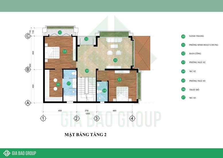 Thiết kế mặt cắt tầng 2 của biệt thự 3 tầng
