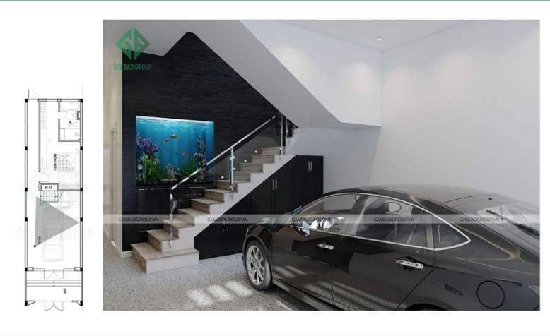 Garage xe trong mẫu thiết kế nội thất nhà phố 3 tầng