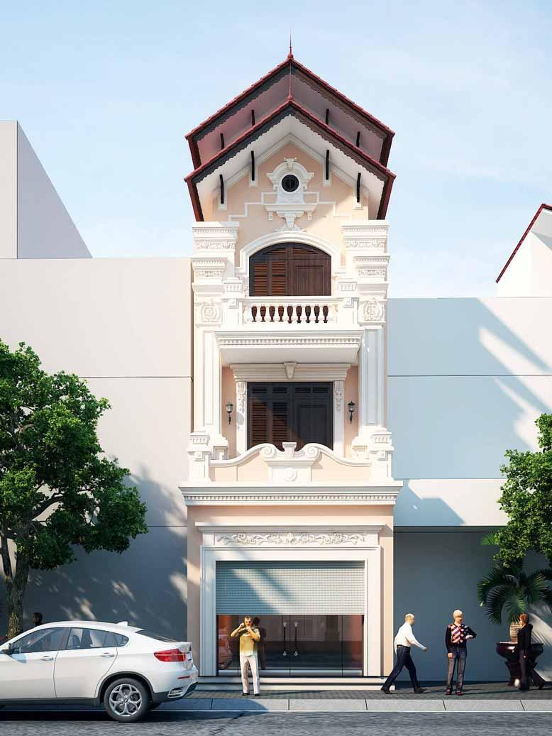 Mẫu nhà phố tân cổ điển 3 tầng màu hồng nhạt nhã nhặn