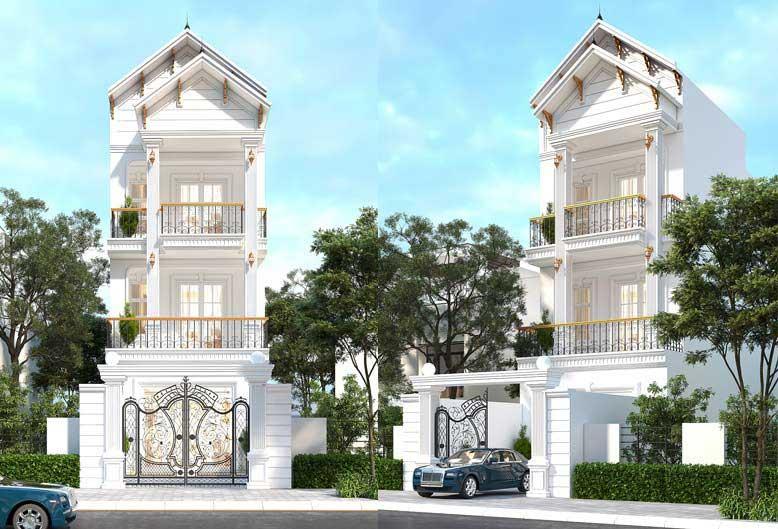 Thiết kế giật cấp độc đáo của mẫu nhà phố tân cổ điển 3 tầng đẹp