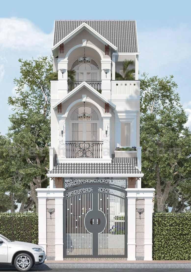 Trang trí thêm phần mái ngói phụ tạo điểm nhấn cho mẫu nhà phố tân cổ điển 3 tầng đẹp