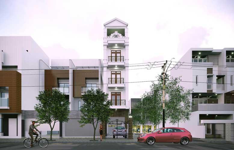 Mẫu nhà phố tân cổ điển 5 tầng phù hợp với gia đình từ 3 thế hệ trở lên
