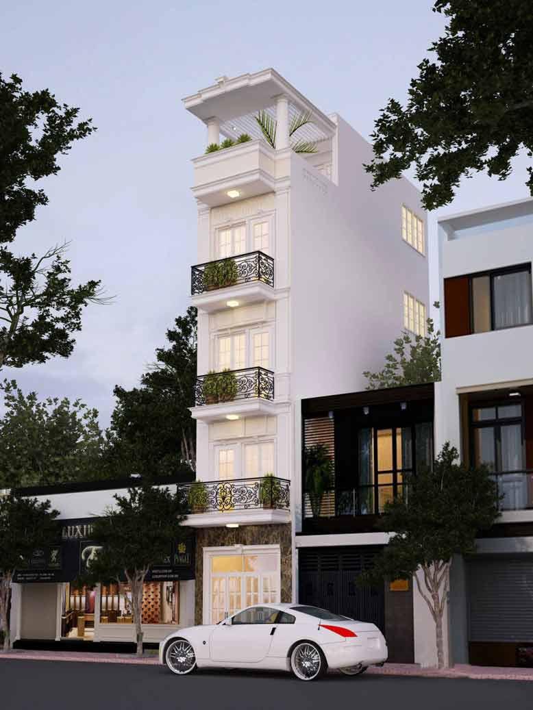 Tông màu trắng phổ biến trong thiết kế mẫu nhà phố tân cổ điển 5 tầng đẹp