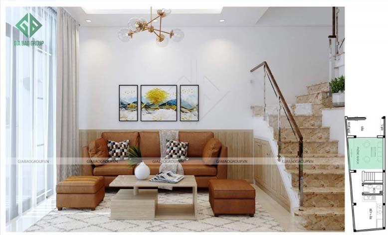 Thiết kế nội thất nhà phố đẹp với phòng khách đơn giản mà tinh tế