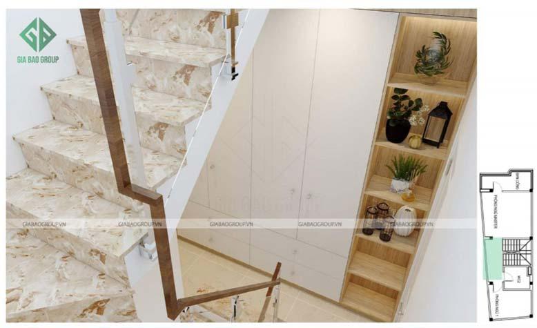Thiết kế nội thất nhà phố đẹp với cầu thang làm điểm nhấn