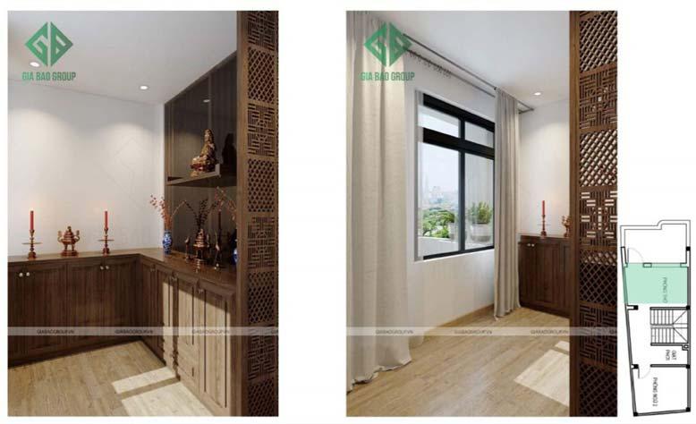 Thiết kế nội thất nhà phố đẹp - phòng thờ tôn nghiêm