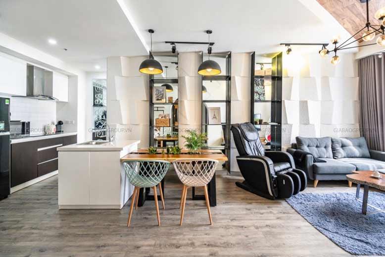 Thiết kế nội thất 1 phòng ngủ không gian bếp được thiết kế mở để thuận tiện cho việc nấu ăn