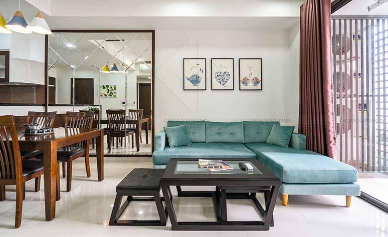 Phòng khách mẫu thiết kế nội thất chung cư đẹp - Gold View Q4