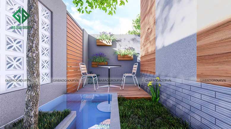 Thiết kế nhà cấp 4 mặt sau sân nhà giống như 1 khu vườn nhỏ