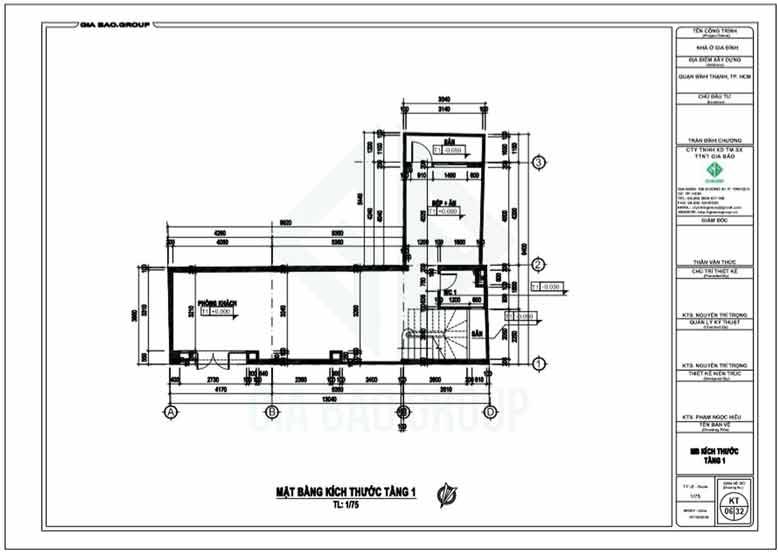 Tầng trệt của thiết kế nhà ống