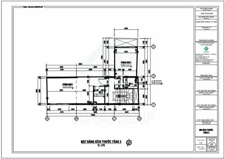 Tầng 2 của thiết kế nhà ống