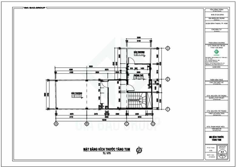 Tầng tum của thiết kế nhà ống