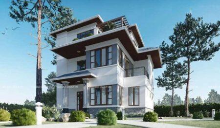 Thiết kế nhà phố mái Bánh Ú phong cách hiện đại, kiểu dáng châu Âu tại Thủ Đức