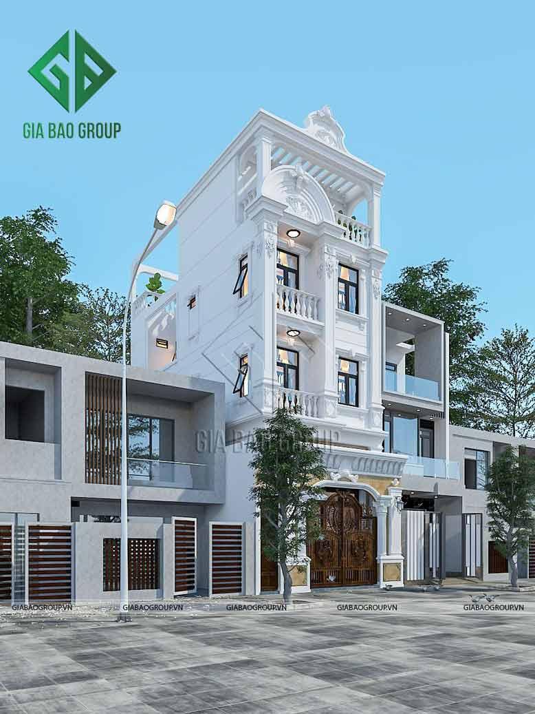 Màu sắc chủ đạo là màu trắng và màu vàng đất làm toát lên sự sang trọng của nhà phố tân cổ điển 4 tầng