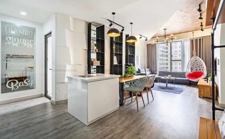Sự kết hợp đa dạng các chất liệu trong thiết kế nội thất căn hộ 1 phòng ngủ