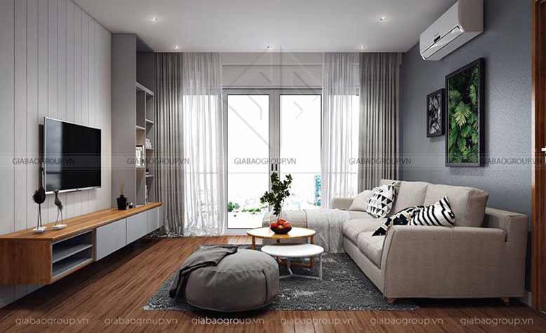 Mẫu nội thất phòng khách sang chảnh - Thiết kế nội thất căn hộ 90m2 Everrich Q5