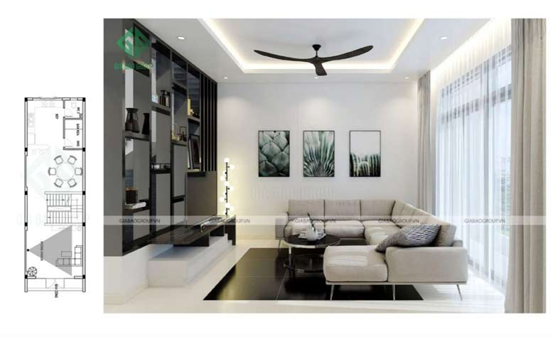 Phòng khách được thiết kế với gam màu đen trắng nổi bật và ấn tượng trong nhà phố 3 tầng