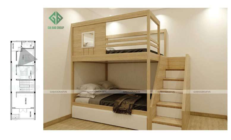 giường gỗ 2 tầng là điểm nhấn cho căn phòng và tiết kiệm diện tích