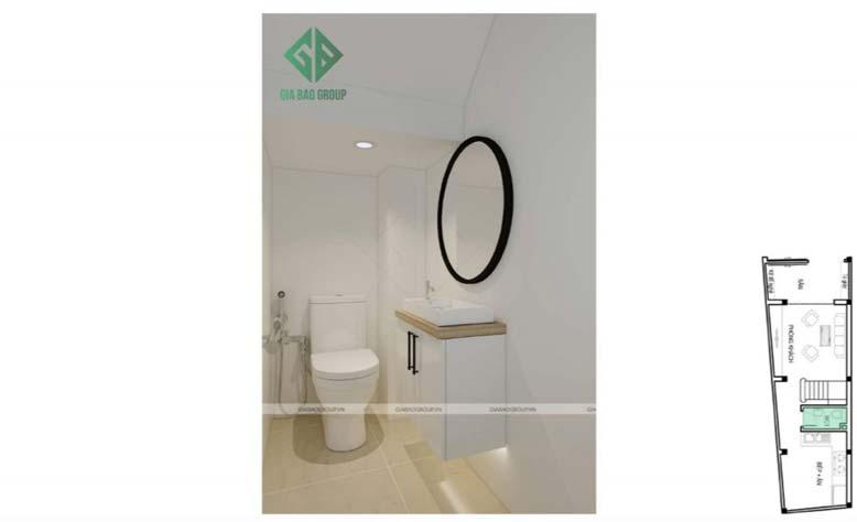Thiết kế nội thất nhà phố đẹp- phòng tắm sang trọng sạch sẽ