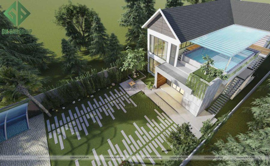 Biệt Thự Vườn Mái Thái 2 Tầng 15x60m Mr.Jo Tại Long An BT20