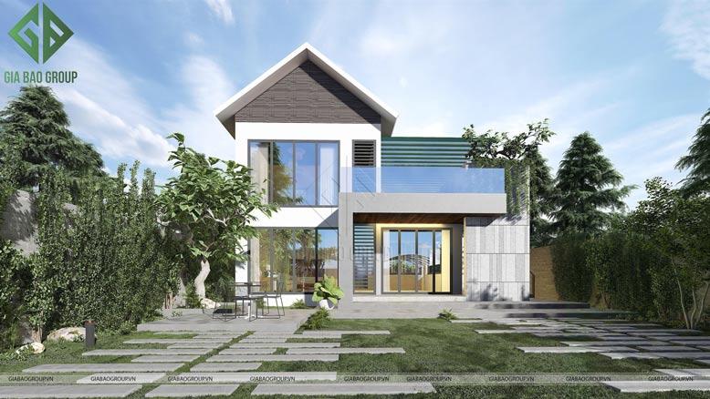 Hoàn tất công trình thiết kế biệt thự mái thái 2 tầng