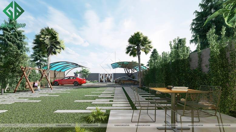 Phối cảnh sân vườn của biệt thự mái thái 2 tầng