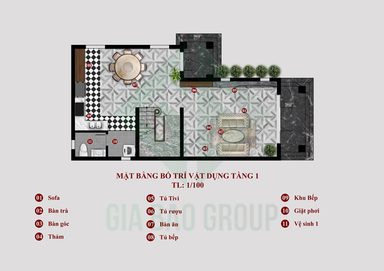 Mặt bằng tầng 1 của biệt thự 1 trệt 1 lầu mái Thái