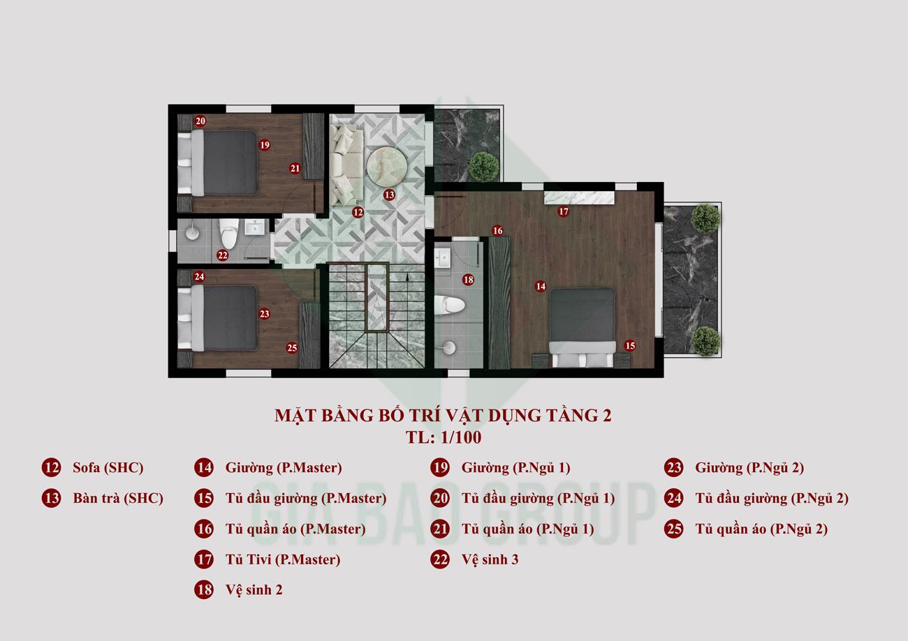 Mặt Bằng Tầng 2 Biệt Thự Mái Thái