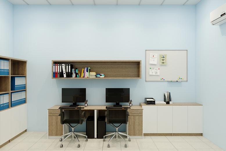 Trắng và xanh là tone màu chủ đạo tạo nên nội thất văn phòng đẹp