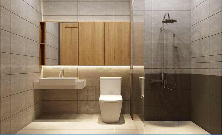 Nhà vệ sinh được thiết kế một cách hoàn mỹ trong thiết kế nội thất studio