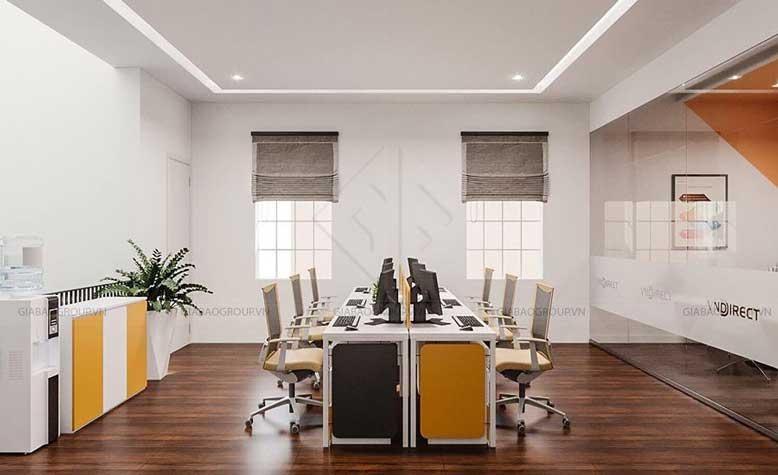 Thiết kế nội thất văn phòng chứng khoán cho khu vực làm việc của nhân viên