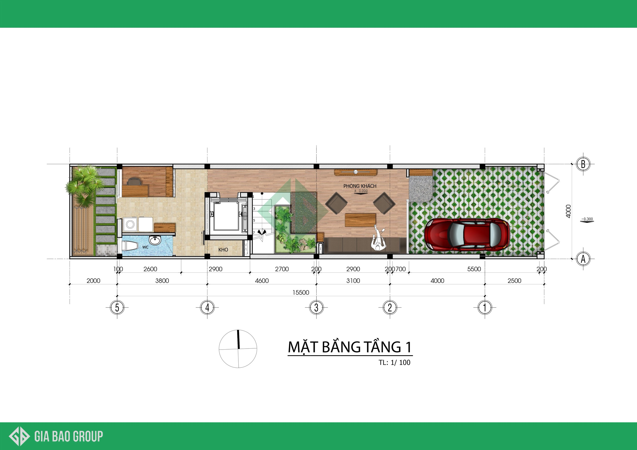 Thiết Kế Nhà Phố 4 Tầng 4x20m