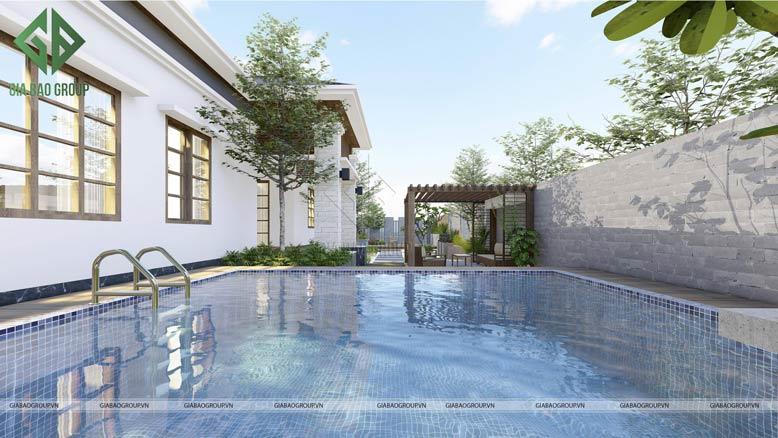 Cảnh hồ bơi của thiết kế biệt thự sân vườn