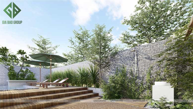 Thiết kế sân vườn biệt thự có hồ bơi